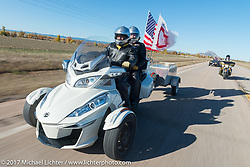 Carol and Russel Edwards (US Army) of Lead SD and the American Legion Riders Chapter 164 on their Can-Am Spyder for the USS South Dakota submarine flag relay across South Dakota on the first day from Sturgis to Aberdeen. SD. USA. Saturday October 7, 2017. Photography ©2017 Michael Lichter.