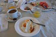Breakfast with greek yogurt and honey at cafe in Athens, Greece.
