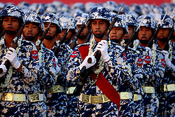 March 27, 2019 - Nay Pyi Taw, Myanmar - Soldiers march in a formation during a parade to mark the 74th Armed Forces Day in Nay Pyi Taw, Myanmar. (Credit Image: © U Aung/Xinhua via ZUMA Wire)