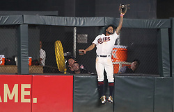 August 15, 2017 - Minneapolis, MN - Minnesota, USA - Minnesota Twins center fielder Byron Buxton (25) robbed Cleveland Indians designated hitter Edwin Encarnacion (10) of a home run in the 7th inning at Target Field Tuesday August 15, 2017 in Minneapolis, MN. ] JERRY HOLT • jerry.holt@startribune.com (Credit Image: © Jerry Holt/Minneapolis Star Tribune via ZUMA Wire)
