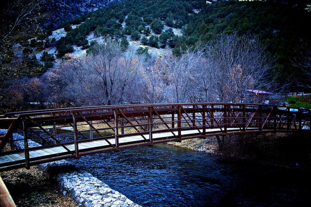 Bridge over the Logan River in Logan Canyon east of Logan, Utah Nov. 17, 2010.