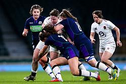 Hannah Botterman of England Women is tackled by Helen Nelson and Jade Konkel of Scotland Women - Mandatory by-line: Robbie Stephenson/JMP - 16/03/2019 - RUGBY - Twickenham Stadium - London, England - England Women v Scotland Women - Women's Six Nations