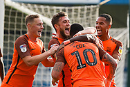 Southend United forward Simon Cox  (10) scores a goal (0-2) and celebrates with team mates  during the EFL Sky Bet League 1 match between Gillingham and Southend United at the MEMS Priestfield Stadium, Gillingham, England on 13 October 2018.