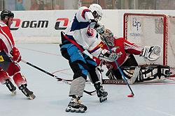 Timotej Sille of Slovakia vs Markus Schilcher, goalie of Austria, at inline hockey match between Slovakia and Austria at HorjulCup, on June 10, 2011 in Sportni park, Horjul, Slovenia. (Photo by Matic Klansek Velej / Sportida)