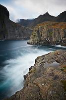 Ocean tide amoung sea cliffs and mountains, Å I Lofoten, Lofoten Islands, Norway