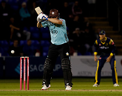 Surrey's Aaron Finch leaves<br /> <br /> Photographer Simon King/Replay Images<br /> <br /> Vitality Blast T20 - Round 14 - Glamorgan v Surrey - Friday 17th August 2018 - Sophia Gardens - Cardiff<br /> <br /> World Copyright © Replay Images . All rights reserved. info@replayimages.co.uk - http://replayimages.co.uk