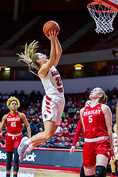 NORMAL, IL - February 07: Chelsea Brackmann can only watch Lexi Wallen move to the hoop during a college women's basketball game between the ISU Redbirds and the Braves of Bradley University February 07 2020 at Redbird Arena in Normal, IL. (Photo by Alan Look)