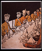 Forecast of the future of European monarchs after 1905 Revolution in Russia.  Cartoon from 'L'Assiette au Beurre', Paris, 29 September 1905.