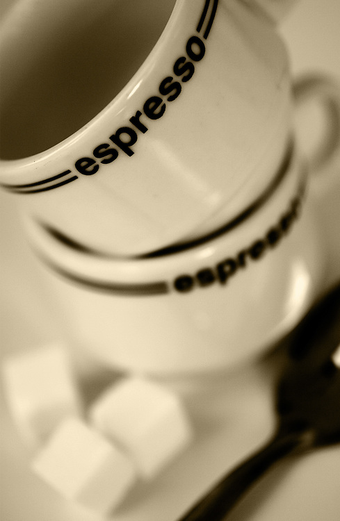 expresso cups with sugar cubes,sepia,verticle