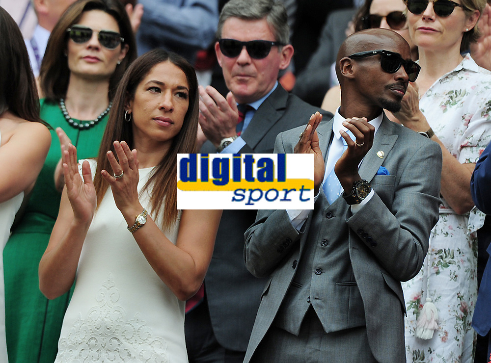 Tennis - 2019 Wimbledon Championships - Week One, Saturday (Day Six)<br /> <br /> Mens Singles, 3rd Round <br /> Sports Men and Women in the Royal Box on Centre Court<br /> <br /> Runner, Mo Farah with his wife Tania Nell<br /> <br /> COLORSPORT/ANDREW COWIE
