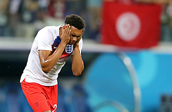 England's Trent Alexander-Arnold rubs insect repellent on his face before the FIFA World Cup Group G match at The Volgograd Arena, Volgograd.