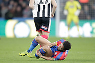 Crystal Palace midfielder Andros Townsend (10) fouled by Grimsby Town defender Andrew Fox (19) during the The FA Cup 3rd round match between Crystal Palace and Grimsby Town FC at Selhurst Park, London, England on 5 January 2019.