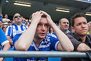 Dismay on the face of a Brighton fan as Dale Stephens is sent off during the live beamback at the American Express Community Stadium in Brighton of the Sky Bet Championship match between Middlesbrough and Brighton and Hove Albion at the Riverside Stadium, Middlesbrough, England on 7 May 2016. Photo by Bennett Dean.