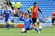 Cardiff City's Peter Whittingham  tackles  Birmingham's Diego Fabbrini. Skybet football league championship match, Cardiff city v Birmingham city at the Cardiff city stadium in Cardiff, South Wales on Saturday 7th May 2016.<br /> pic by Carl Robertson, Andrew Orchard sports photography.