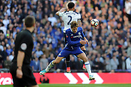 Tottenham's Kyle Walker (2) and Chelsea's Marcos Alonso challenge for a header. The Emirates FA Cup semi-final match, Chelsea v Tottenham Hotspur at Wembley Stadium in London on Saturday 22nd April 2017.<br /> pic by Carl Robertson,  Andrew Orchard sports photography.
