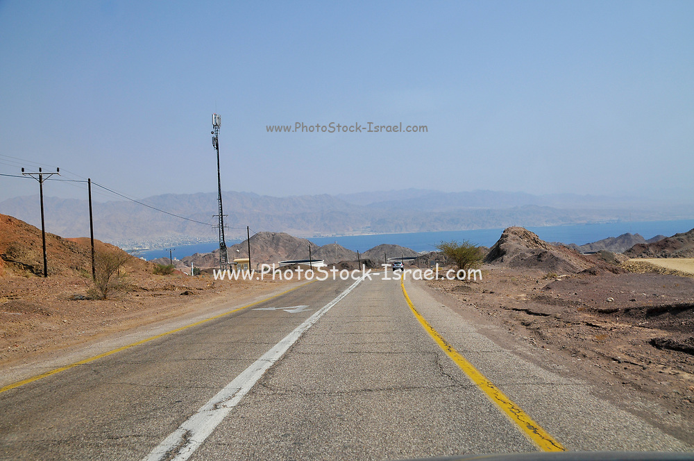 The road south to Eilat. The Red Sea in the background