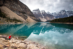 Photographer Jim Osterhout capturing the magic at Moraine Lake in Banff National Park. Moraine Lake is a glacial lake at the foot of the Valley of Ten Peaks, truly one of the top gems of the Alberta Canada's Canadian Rockies.