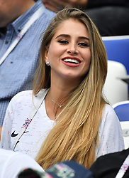 Paul Pogba 's girlfriend Maria Salaues during the FIFA World Cup 2018 Round of 8 match at the Nizhny Novgorod Stadium Russia, on July 6, 2018. . Photo by Christian Liewig/ABACAPRESS.COM