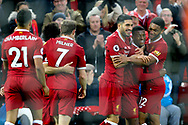 Georginio Wijnaldum of Liverpool (2r) celebrates with his teammates after scoring his teams 3rd goal. Premier League match, Liverpool v Huddersfield Town at the Anfield stadium in Liverpool, Merseyside on Saturday 28th October 2017.<br /> pic by Chris Stading, Andrew Orchard sports photography.