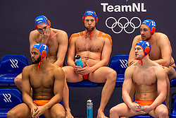 Bilal Gbadamassi, Guus van IJperen, Jesse Koopman, Guus Wolswinkel of the Netherlands in action against / of Croatia during the Olympic qualifying tournament. The Dutch water polo players are on the hunt for a starting ticket for the Olympic Games on February 15, 2021 in Rotterdam
