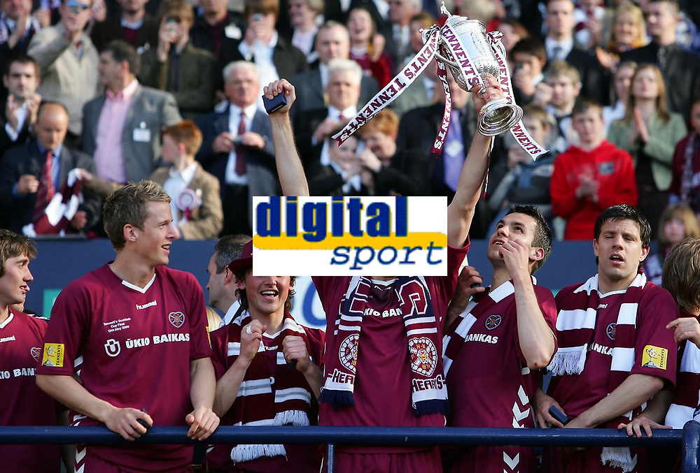 Photo: Andrew Unwin.<br /> Hearts v Gretna. Tennants Scottish Cup Final. 13/05/2006.<br /> Hearts' Roman Bednar celebrates with the cup.