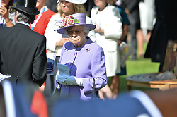 HM The Queen  at The Investec Derby, Epsom Racecourse, Epsom, Surrey, England. 02 June 2018.