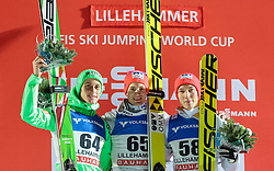 06.12.2015, Lysgards Schanze, NOR, FIS Weltcup Ski Sprung, Lillehammer, Herren, Podium im Bild Peter Prevc (SLO), Kenneth Gangnes (NOR), Johann Andre Forfang (NOR) // Peter Prevc of Slovenia, Kenneth Gangnes of Norway, Johann Andre Forfang of Norway celebrates on Podium of Mens Skijumping Competition of FIS Skijumping World Cup at the Lysgards Hill, Lillehammer, Norway on 2015/12/06. EXPA Pictures © 2015, PhotoCredit: EXPA/ JFK