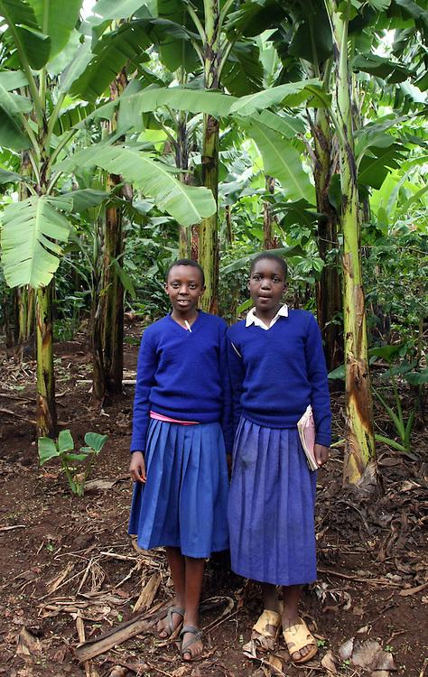 Two school girls on a banana plantation in Tanzania.