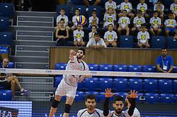 September 12, 2018 - Varna, Bulgaria - Ebadipour Ghara H.Milad, Iran, serve during Iran vs Puerto Rico, pool D, during 2018 FIVB Volleyball Men's World Championship Italy-Bulgaria 2018, Varna, Bulgaria on September 12, 2018  (Credit Image: © Hristo Rusev/NurPhoto/ZUMA Press)