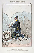 Franco-Prussian War 1870-1871: Siege of Paris 19 Sept 1870-28 Jan 1871. Rifleman of the Paris Garde Sedentaire eating his lunch during a lull in fighting. From 'Souvenirs du Siege de Paris' by Jules Renard Draner. France Germany