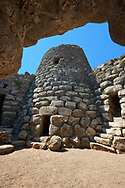 Picture and image of the central courtyard and prehistoric megalith ruins of Santu Antine Nuraghe tower, archaeological site, Bronze age (19-18th century BC), Torralba, Sardinia. .<br /> <br /> If you prefer you can also buy from our ALAMY PHOTO LIBRARY  Collection visit : https://www.alamy.com/portfolio/paul-williams-funkystock/santu-antine-nuraghe-sardinia.html<br /> Visit our PREHISTORIC PLACES PHOTO COLLECTIONS for more   photos  to download or buy as prints https://funkystock.photoshelter.com/gallery-collection/Prehistoric-Neolithic-Sites-Art-Artefacts-Pictures-Photos/C0000tfxw63zrUT4