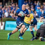DUBLIN, IRELAND:  October 9:    Rhys Ruddock #8 of Leinster makers a break supported by Scott Penny #7 of Leinster during the Leinster V Zebre, United Rugby Championship match at RDS Arena on October 9th, 2021 in Dublin, Ireland. (Photo by Tim Clayton/Corbis via Getty Images)