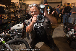 Photographer Horst Rösler at Bill Dodge's Bling's Cycle party during Daytona Beach Bike Week 2015. FL, USA. Wednesday, March 11, 2015.  Photography ©2015 Michael Lichter.