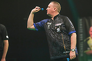 Glen Durrant during the Unibet Premier League Play-Offs at the Ricoh Arena, Coventry, England on 15 October 2020.