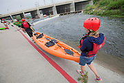 Kayakers launch into the LA River from near Rattlesnake Park. On June 1, 2013, George Wolfe and LA River Expeditions leads a kayak tour down the Los Angeles River. On Memorial Day, the Los Angeles River Pilot Recreational Zone officially opened to the public for kayaking, walking, birdwatching, and fishing along a 2.5 mile stretch of the river in the Elysian Valley. Los Angeles, California