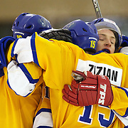 Tommy Zizian celebrates with team mates after scoring for Southern Stampede during the Southern Stampede V West Auckland Admirals New Zealand Ice Hockey League match at the Queenstown Ice Arena. Southern Stampede won the match 9-8.  Queenstown, South Island, New Zealand, 5th June 2011