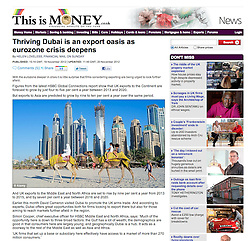 This is Money website; Skyline of Dubai with camels