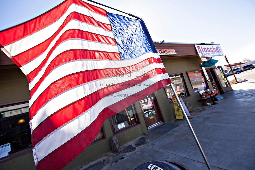 American flag in the Mojave desert town of Joshua Tree, California.