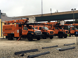 Orange tree debris removal trucks lines the streets in some parts of Orlando in preparation for Hurricane Matthew Friday, Oct. 7, 2016. Photo by Christal Hayes/Orlando Sentinel/TNS/ABACAPRESS.COM