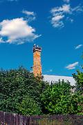 Bocianie gniazdo na kominie, Krynki, Polska<br /> Stork nest on the chimney, Krynki, Poland