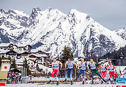 03.03.2019, Seefeld, AUT, FIS Weltmeisterschaften Ski Nordisch, Seefeld 2019, Langlauf, Herren, 50 km Massenstart, im Bild Martin Johnsrud Sundby (NOR), Dario Cologna (SUI), David Norris (USA) // Martin Johnsrud Sundby of Norway, Dario Cologna of Switzerland, David Norris of the USA during the men's cross country 50 km mass start competition of FIS Nordic Ski World Championships 2019. Seefeld, Austria on 2019/03/03. EXPA Pictures © 2019, PhotoCredit: EXPA/ JFK