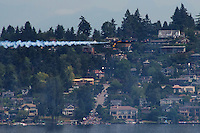 Blue Angel Flying Upside Down over Lake Washington