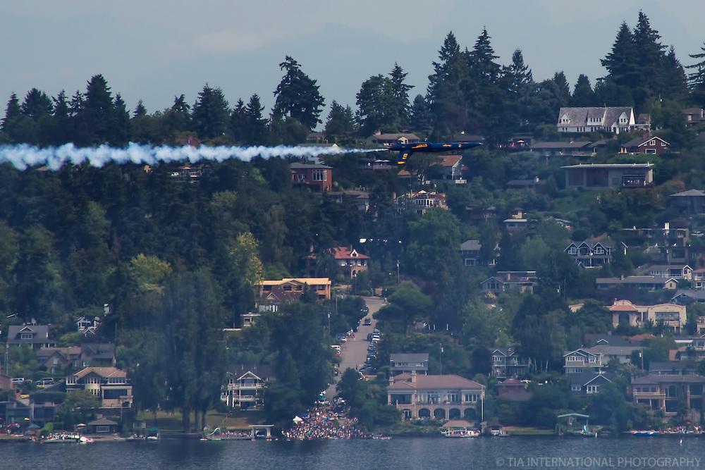 Blue Angel Flying Upside Down over Lake Washington