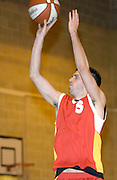 Thursday 26th April, 2007. Erks' Mark Denchfield fires off another jump shot during Barking and Dagenham Erkenwald's EMBL Play Off semi-final against Lakers at Sydney Russell. Erkenwald won the game 90 - 69.