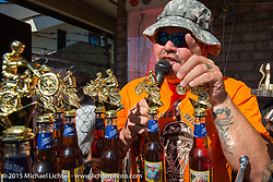 MC Roadside Marty during the awards ceremony at the Chopper Time Old School Bike Show at Willy's Tropical Tattoo during the Biketoberfest Rally. Ormond Beach, FL, USA. October 15, 2015.  Photography ©2015 Michael Lichter.