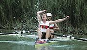 Barcelona Olympics 1992 - Lake Banyoles, SPAIN,  GER W2- Stroke WERREMEIER, Stefani, and SCHWERZMANN, Ingeburg Bronze medallist, Photo: Peter Spurrier/Intersport Images.  Mob +44 7973 819 551/email images@intersport-images.com.       {Mandatory Credit: © Peter Spurrier/Intersport Images]..........       {Mandatory Credit: © Peter Spurrier/Intersport Images].........