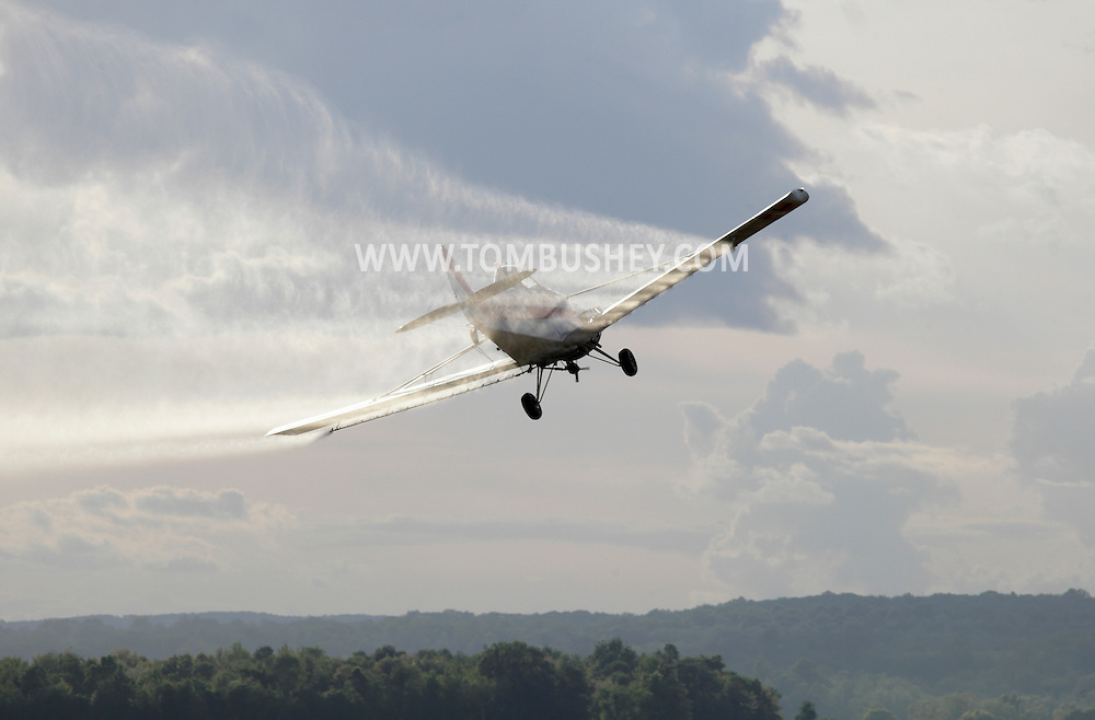 Goshen, New York - A crop duster sprays herbicide while flying over a black dirt onion field on May 21, 2011.
