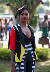Durban. 070718. Fashion Theme for the 2018 Vodacom Durban July. - It Is Time - Every year a new theme is released to get the creative juices of the visitors and fashion desighners flowing. Picture Leon Lestrade. African News Agency/ANA. Tessa Mbili dressed by Makhosi