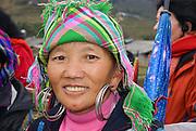 Vietnam, Sapa Market, Black Hmong women in traditional dress