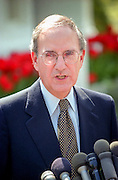 Former senator and Special Envoy for Northern Ireland Peace Envoy George Mitchell speaks to the media at the White House April 13, 1998 in Washington, DC. Mitchell, who chaired the peace talks in Northern Ireland, praised Clinton for his help in negotiating the agreement reached April 10th in Belfast.